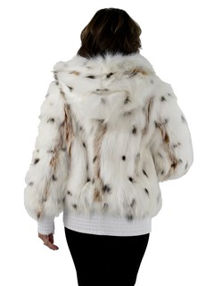 Woman's White Spotted Fox Fur Zipper Parka with White Velvet Lined Hood