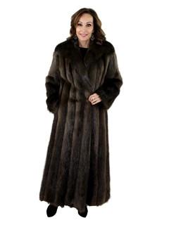 Woman's Chestnut Long Hair Beaver Fur Coat