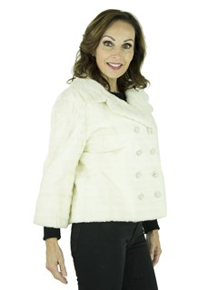 Women's Vintage Double Breasted White Ermine Fur Bolero Jacket