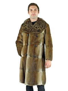 Man's Natural Muskrat Fur Coat with Raccoon Collar