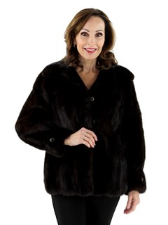 Woman's Dark Mahogany Female Mink Fur Jacket
