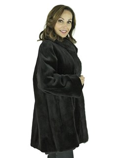 Woman's Black Sheared Mink Fur Stroller Reversible to Rain Fabric