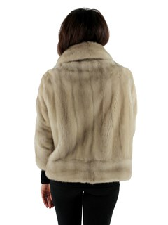 Woman's Tourmaline Mink Fur Jacket with Elbow Length Sleeves