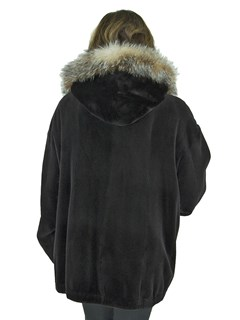 Woman's Dark Brown Sheared Mink Fur Jacket with Detachable Fox Trimmed Hood