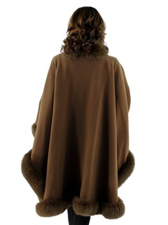 Woman's Brown Wool Cape with Fox Trim