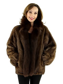 Woman's Lunaraine Cord Cut Mink Fur Jacket with Fox Trim