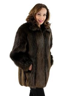 Woman's Traditional Beaver Fur Jacket with Detachable Hood