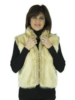 Musi Woman's Blond Long Hair Beaver Fur Vest