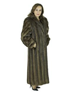 Woman's Medium Tone Long Hair Beaver Fur Coat