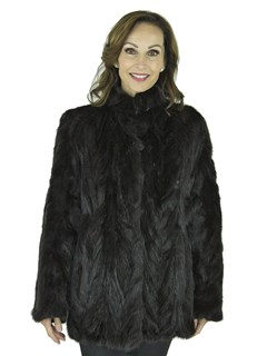 Woman's Black Sculptured Mink Fur Jacket