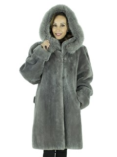 Woman's Grey Sheared Beaver Fur Stroller with Detachable Fox Trimmed Hood