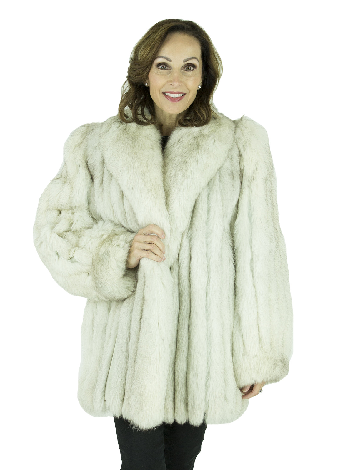 Woman's Cord Cut Blue Fox Fur Jacket
