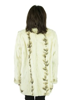 Woman's Cream and Brown Semi-sheared Mink Fur Jacket