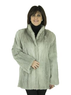 Woman's Cord Cut Cerulean Mink Fur Jacket