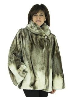 Woman's Platinum Semi-sheared Mink Fur Parka