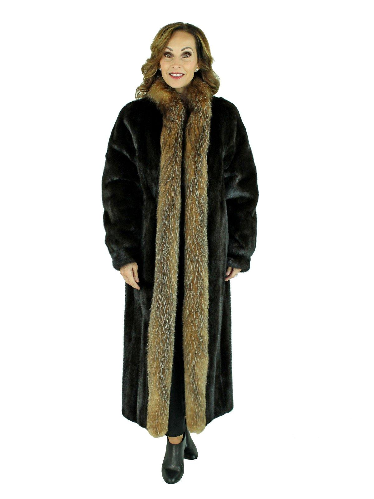 Woman's Ranch Mink Fur Coat with Fox Tuxedo Front
