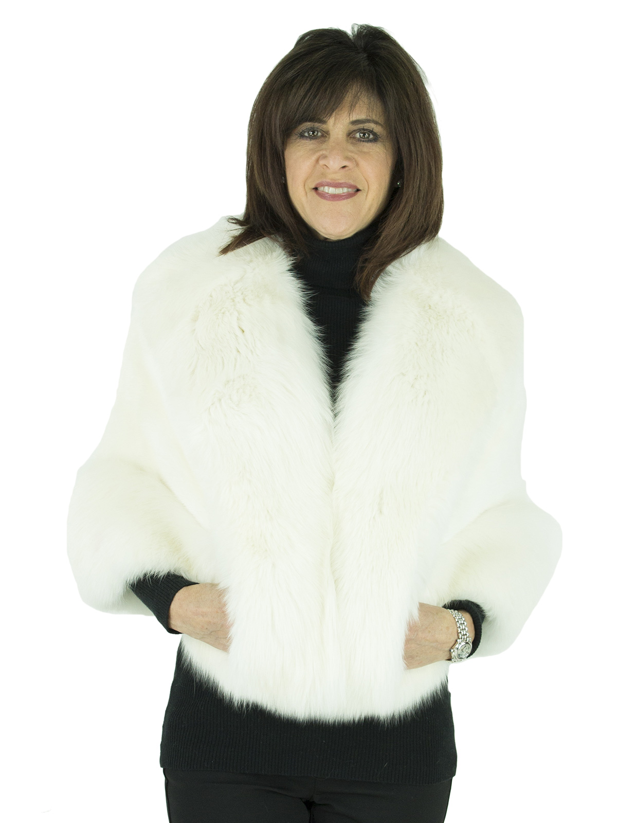 Woman's White Mink Fur Stole with Fox Trim