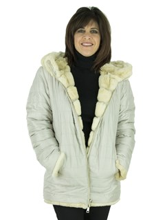 Woman' Rex Rabbit Fur Jacket Reversible to Quilted Silver Grey Fabric