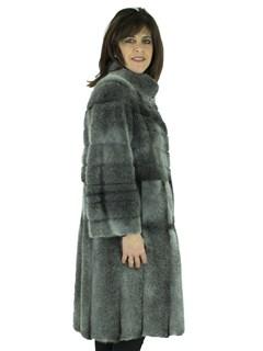 Woman's Rizal Grey Cross Mink Fur 7/8 Coat