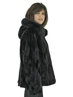 Woman's Black Sculptured Sheared Mink Fur Parka Reversible to Rain Fabric