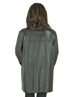 Woman's Brown Leather Jacket Reversible to Brown Sheared Mink