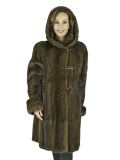 Woman's Demi Buff Female Mink Fur Stroller with Double Fur Hood