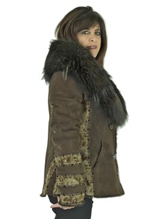 Woman's Brown Shearling Lamb Jacket with Fox Collar
