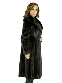 Woman's Mahogany Female Mink Fur 7/8 Coat
