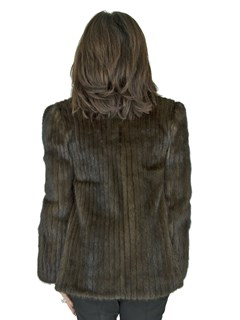 Woman's Mahogany Mink Fur Cord Cut Jacket with Fox Tuxedo Front