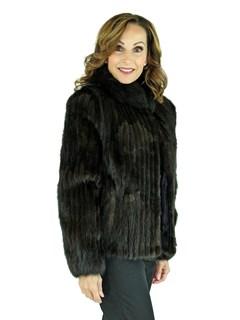 Woman's Cord Cut Dark Mahogany Mink Fur Jacket with Black Fox Collar