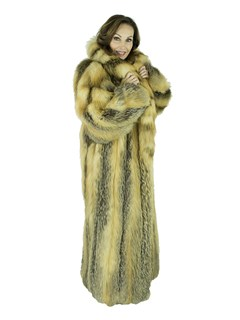 Woman's Cross Fox Fur Coat