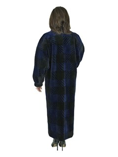 Oscar de La Renta Woman's Checkerboard Sheared Beaver Fur Coat