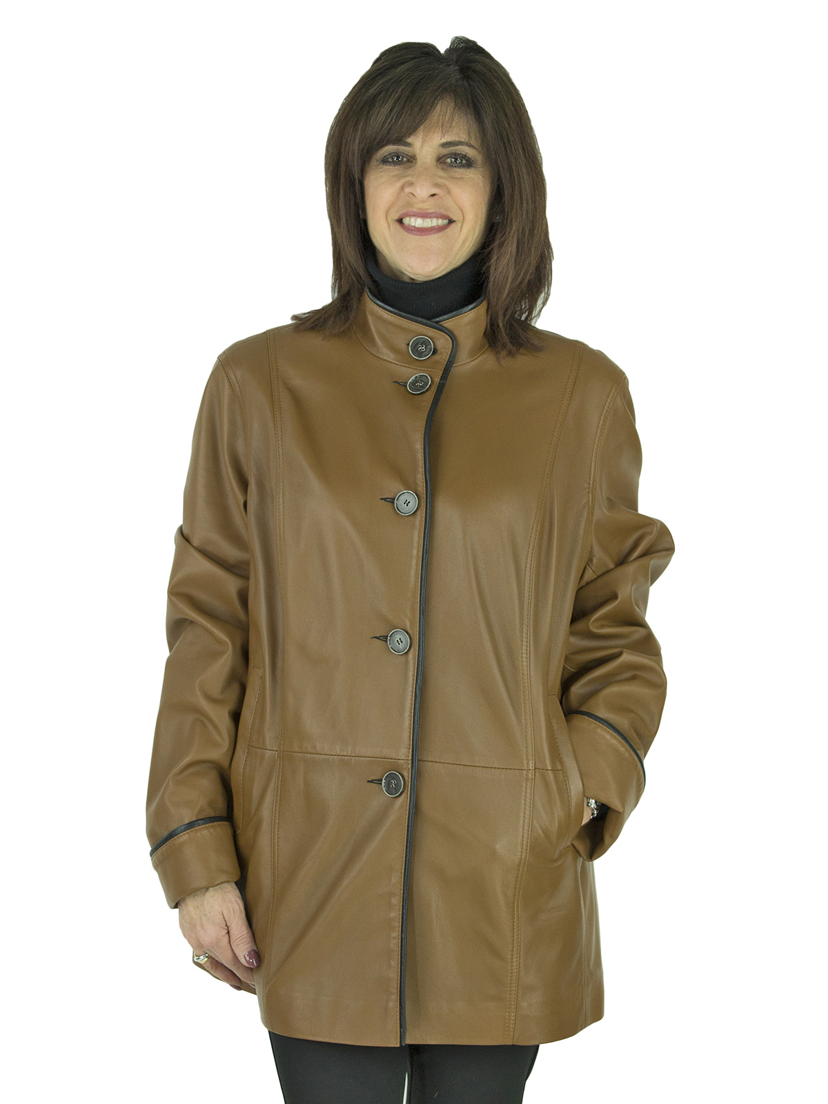 Woman's Camel Leather Jacket Reversible to Black Rain Fabric