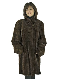 Woman's Brown Semi-Sheared Sculptured Mink Fur 3/4 Coat