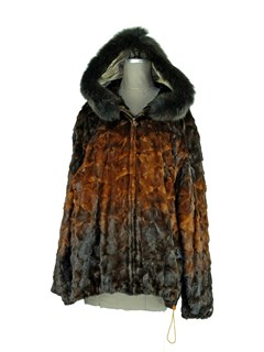 Man's Mahogany Degrade Sectioned Mink Fur Parka