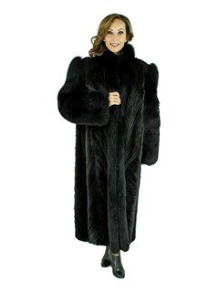 Woman's Ranch Mink Tail Fur Coat with Fox Tuxedo Front and Sleeves
