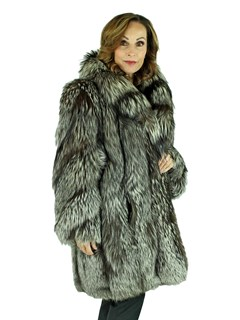Woman's Silver Fox 3/4 Fur Coat