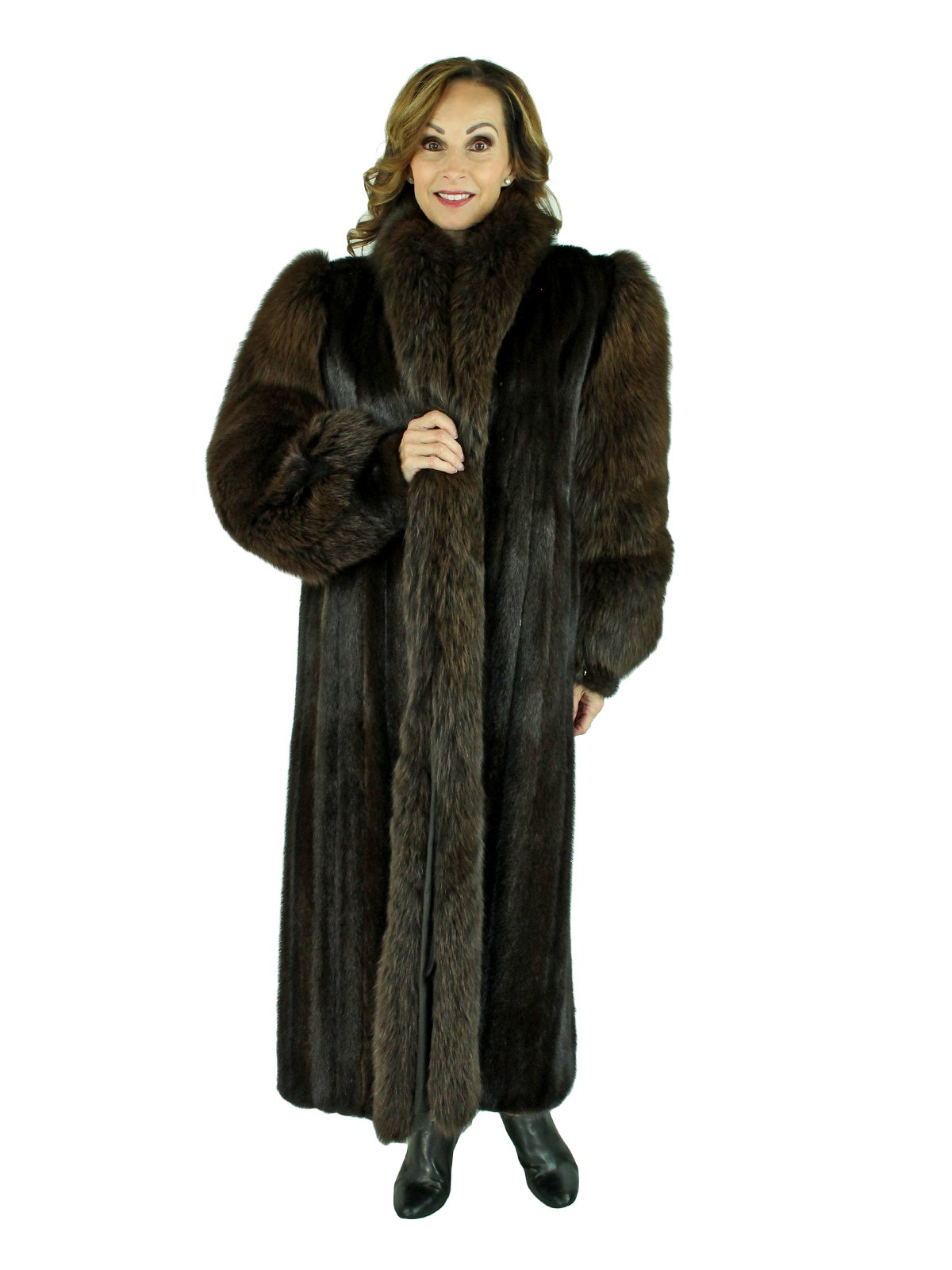 Woman's Dark Mahogany Mink Fur Coat with Fox Tuxedo Front and Sleeves