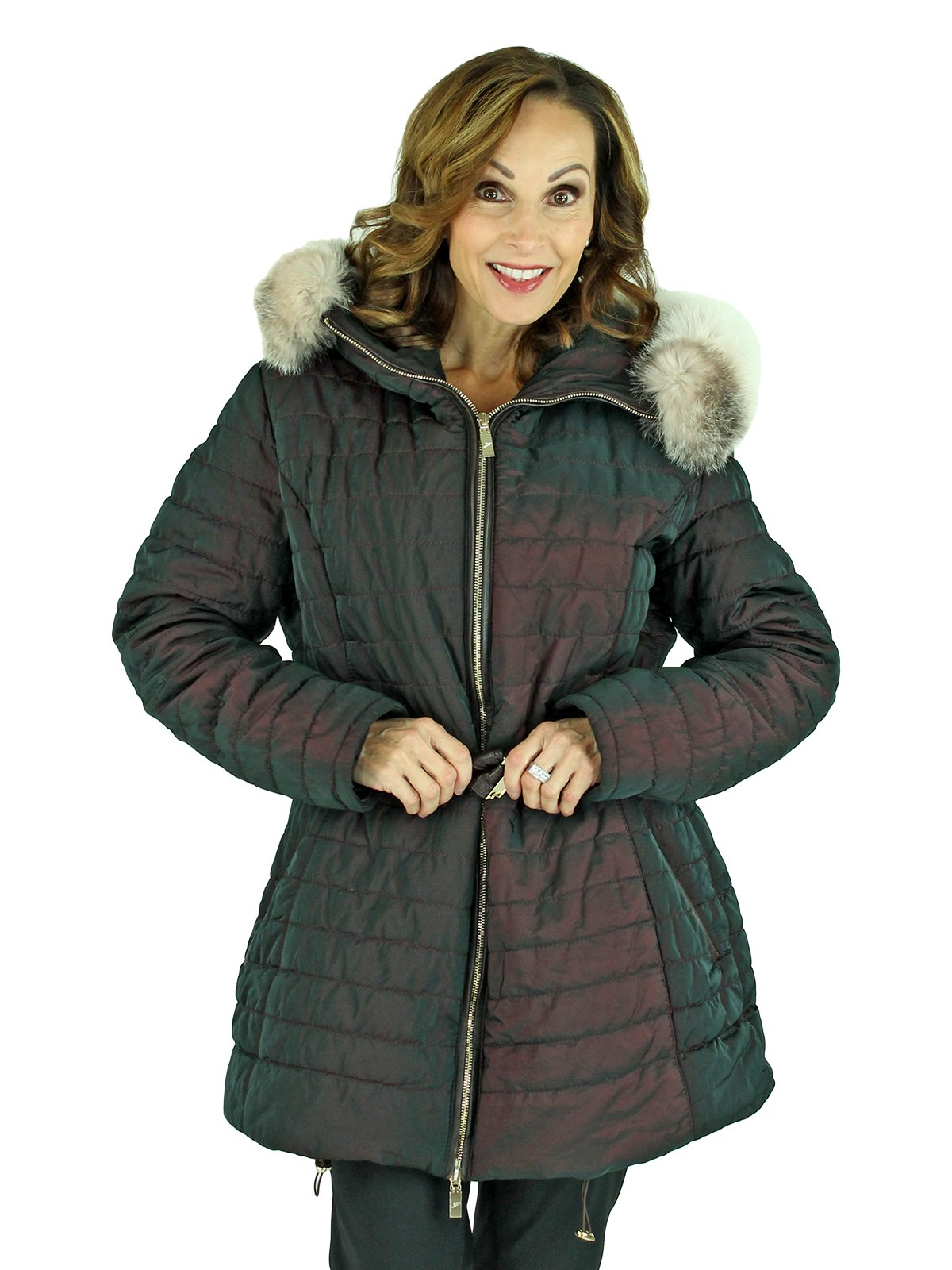 Gorski Woman's Quilted Italian Made Apres Ski Parka with Fox Trimmed Hood
