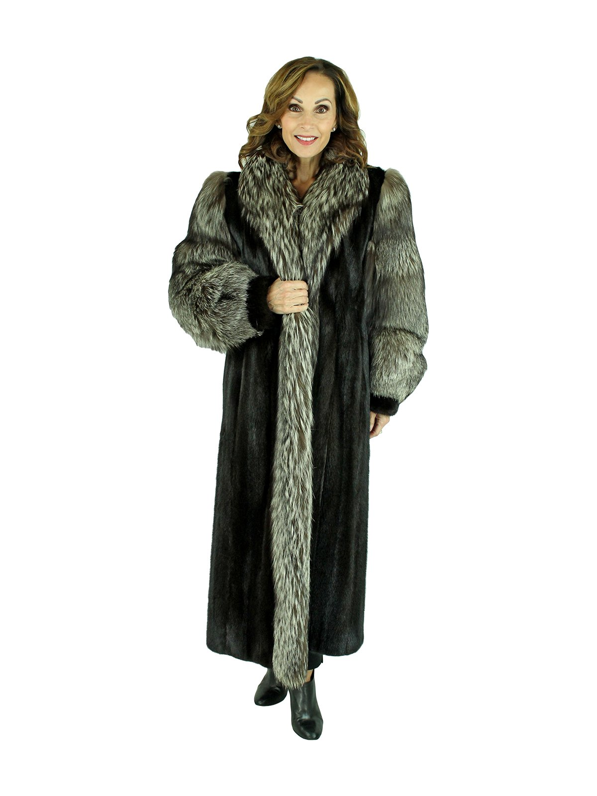 Woman's Ranch Mink Fur Coat with Silver Fox Sleeves and Tuxedo Front