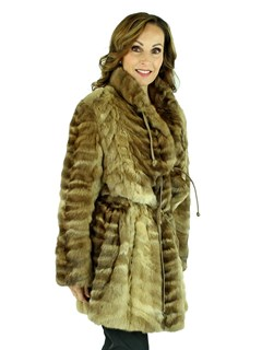 Woman's Feathered Sable Fur Stroller with Leather Ties