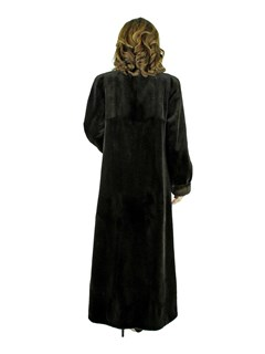 Woman's Brown Sheared Mink Fur Coat with Traditional Mink Trim
