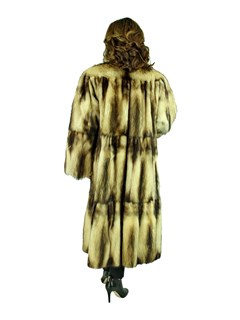 Woman's Natural Fitch Fur Swing Coat, Reversible to Rain Fabric