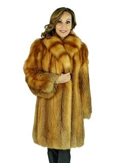 Woman's Red Fox Fur 7/8 Coat