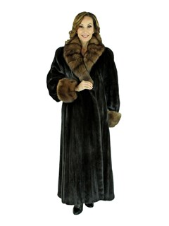 Woman's Dark Mahogany Female Mink Fur Coat with Sable Collar and Cuffs