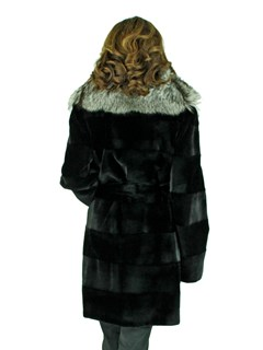 Woman's Black Sheared Mink Fur Stroller with Fox Collar