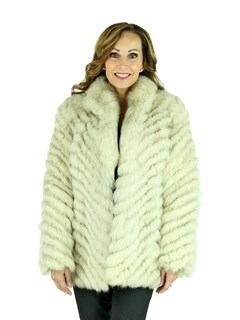Woman's Chevron Pattern Blue Fox Fur Jacket