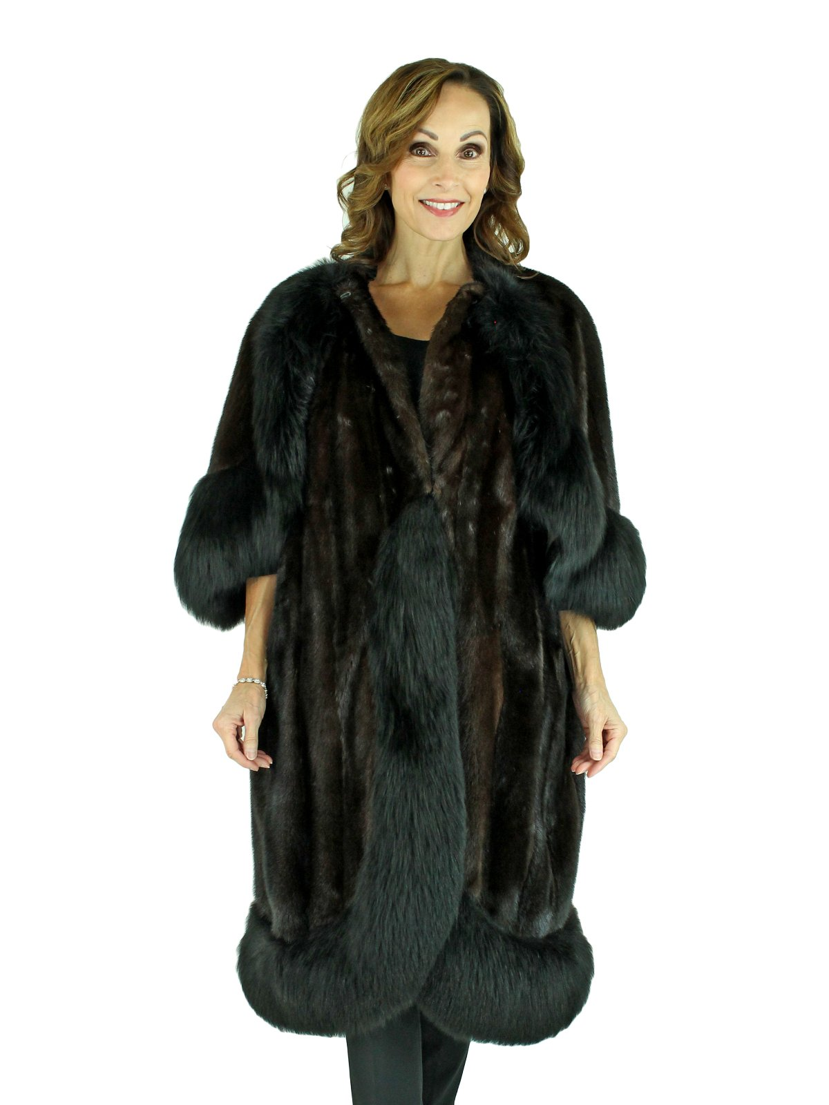 Woman's 'Opera' Mink Fur Coat with Cape Overlay and Fox Trim