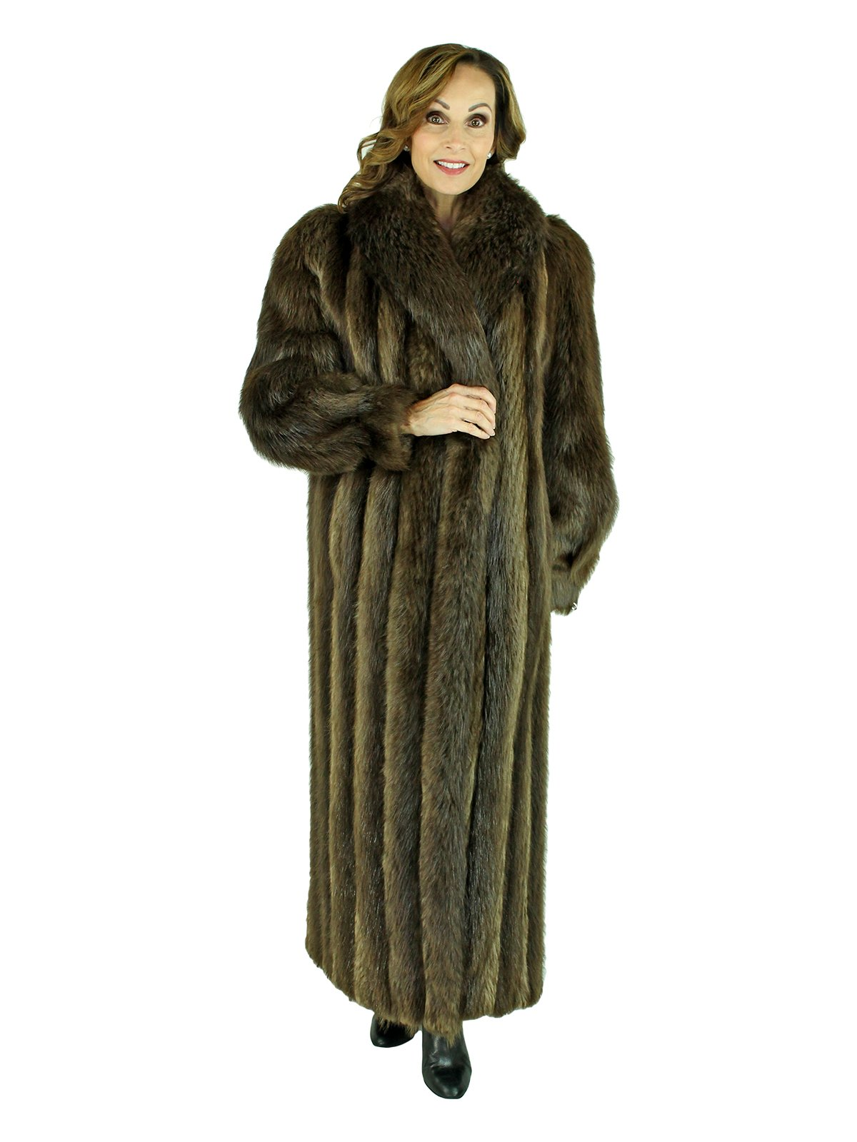 Woman's Medium Tone Long Hair Beaver Fur Coat