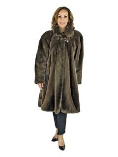 Woman's Phantom Sheared Beaver Fur 3/4 Coat